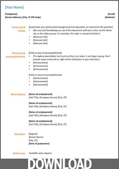 Microsoft Cv Templates 12 free microsoft office docx resume and cv