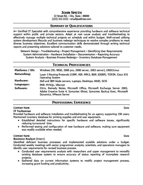 Tech Resume Template by It Technician Resume Template Premium Resume Sles