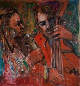 Painting- Jazz Singer And Bassist - Oil On Canvas | Modernism