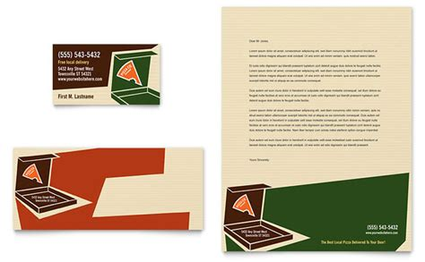 Pizza Pizzeria Restaurant Business Card & Letterhead Avery Ivory Business Cards 27883 Cotton Australia Mobile App And Flyers Design Paper Samples Blank Nz C32024 Work From Home