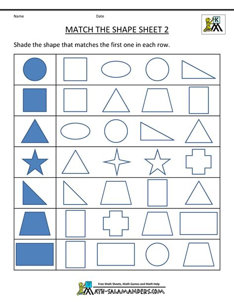 math worksheets on shapes for kindergarten free shape worksheets kindergarten