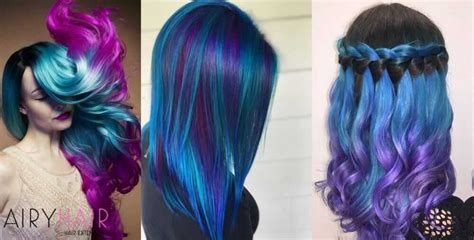 15 Pink Teal And Blue Ombre Hair Extension Color
