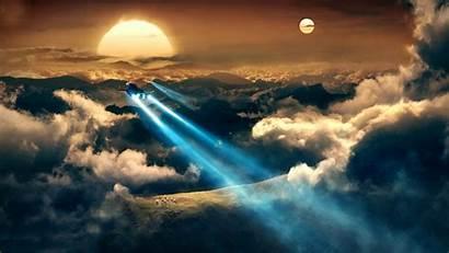 Fantasy Desktop Wallpapers Background Backgrounds Sunset Spaceships