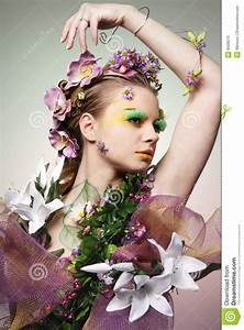 Flower lady. stock image. Image of green, body, love ...