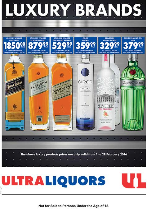 ultra liquors luxury brand specials  feb   feb