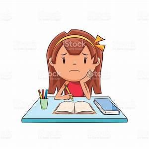 Sad Girl Homework Stock Vector Art & More Images of Adult ...