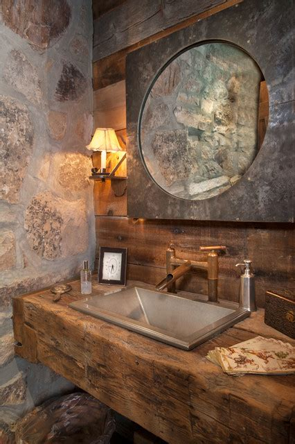 sunset ranch rustic powder room   dubbe