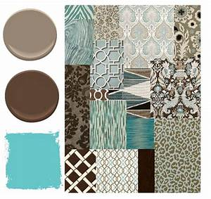 Blue, Brown, and Aqua Color Palette - Places in the Home