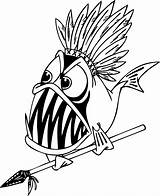 Piranha Coloring Pages Fish Warrior Cartoon Indian Detailed Funny Clipart Drawing Clip Printable Adult Cliparts Colouring Cool Sheet Shark Angry sketch template