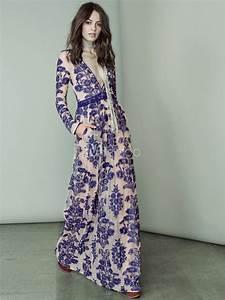 purple floral print low cut embroidered maxi dress With robe longue boheme ete