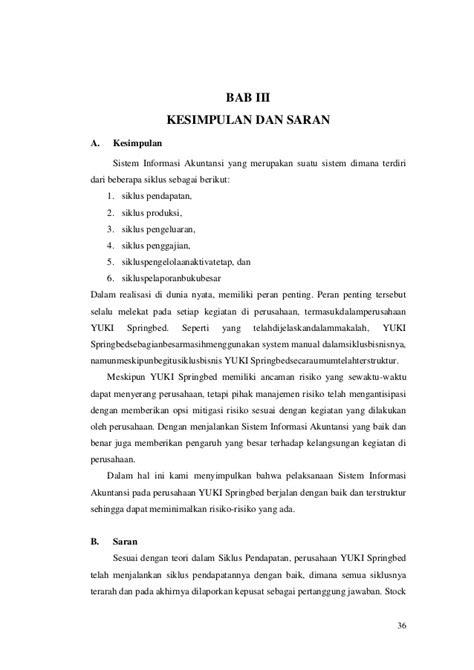 Laporan sistem informasi akuntansi pada yuki springbed