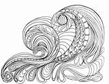 Coloring Pages Waves Adult Ocean Wave Printable Colouring Tsunami Drawing Grown Lostbumblebee Sheets Flowers April Printables Detailed Getdrawings Getcolorings Peace sketch template