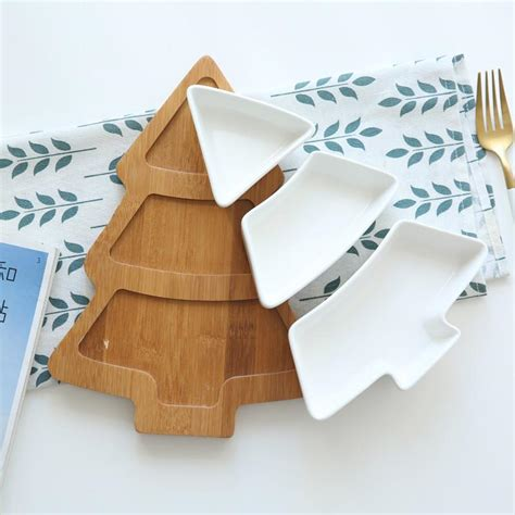 ceramic christmas tree serving plate  wooden tray kitchwares