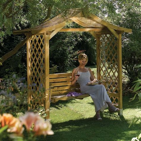 lattice sided wooden garden swing arbour seat