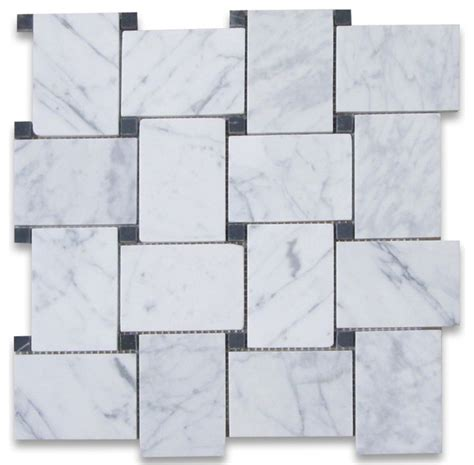 carrara marble woven mosaic tile traditional wall and floor tile by center
