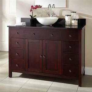 Bathroom dark brown wooden bathroom vanities with white for White bathroom vanity with black countertop