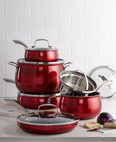 belgique red translucent  pc cookware set   macys cookware cookware sets