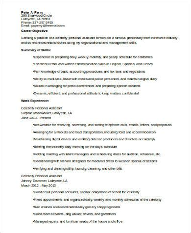 sle personal assistant resume 8 exles in word pdf