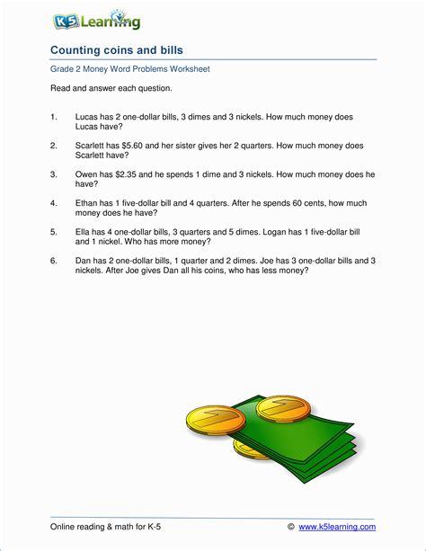 grade 2 money word problem worksheets k5 learning
