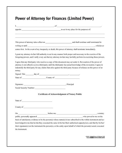 adams limited power of attorney forms and instructions