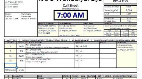casper spreadsheet template  call sheets