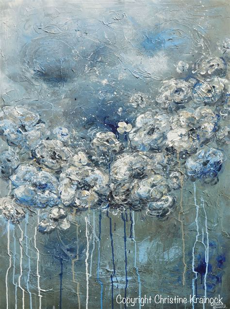 Abstract Black Flower Painting by Giclee Print Abstract Blue Grey White Floral Painting