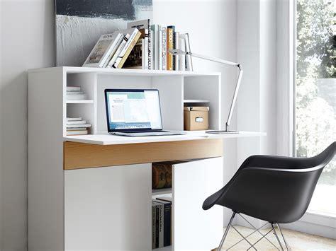 bureau secrétaire en bois placage chêne et blanc mat