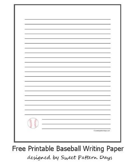 printable baseball writing paper lined writing