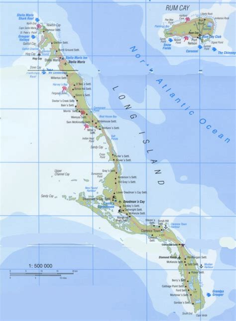 tourist map  long island  bahamas long island