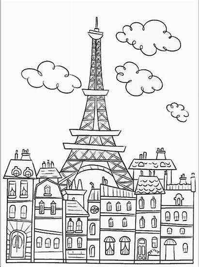 Coloring Pages Paris Adults Buildings Tower Printable