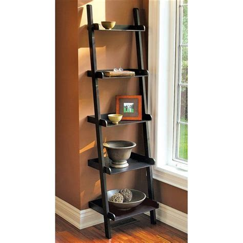 Leaning Bookcase Walmart by Mainstays Leaning Ladder 5 Shelf Bookcase Espresso