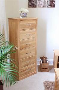 Mobel Oak Tallboy 6 Drawer COR12A