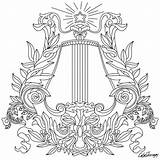 Coloring Pages Harp Drawing Printable Line Sheets Adults sketch template