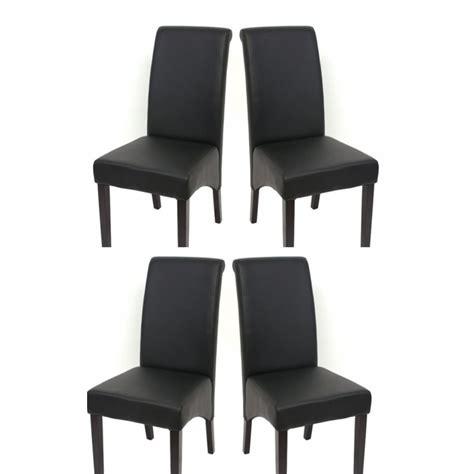 chaise salle a manger noir set de 4 chaises de salle à manger en simili cuir noir mat pieds foncés cds04124 décoshop26