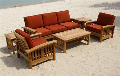 mission style teak sofa set traditional san francisco