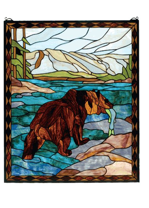 catch   grizzly stained glass window