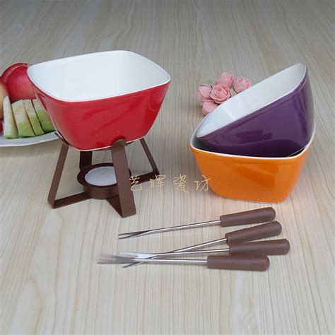 300 ml colorful ceramic fondue set cheese warmer chocolate