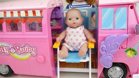 Bus Camping Car And Baby Doll Toys Play