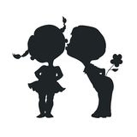 silhouettes  kissing boy  girl stock vector image