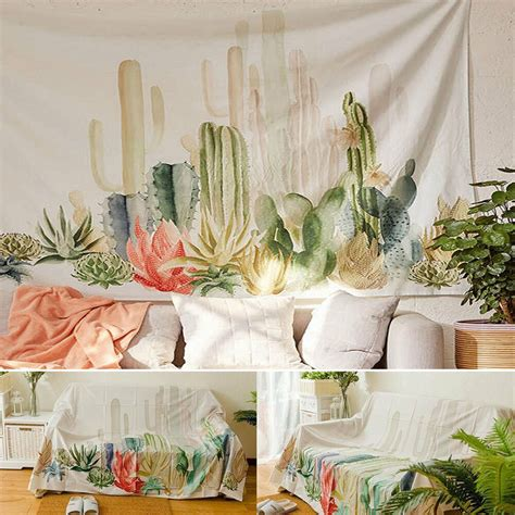 desert cactus sunset tapestry wall hanging living room