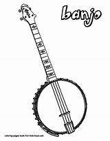 Banjo Coloring Pages Musical Instrument Instruments String Guitar Boys Country Printables Drawing Template Acoustic Downloads Printable Colouring Guitars Jets Folk sketch template