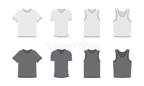 Set Of Different Types Of T-shirts In Dark And Light