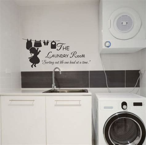 Inexpensive Laundry Room Makeovers With Sticker Wall Art