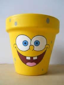 Spongebob Painted Flower Pots