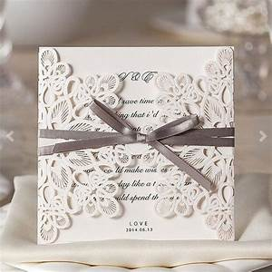 lace laser cut wedding invitations floral customized With wedding invitation packs 50