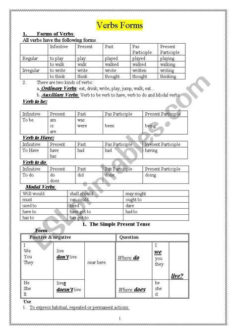 verb forms esl worksheet by sinbad2010