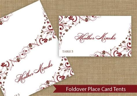 avery place card place card tent instantly editable text chic bouquet chocolate burgundy