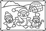Penguin Coloring Pages Christmas Penguins Printable Sheets Bear Polar Popular sketch template