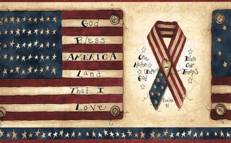 wallpaper border patriotic americana flags ribbons stars