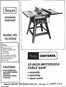 Craftsman 11324250 User Manual 12 Inch Motorized Table Saw